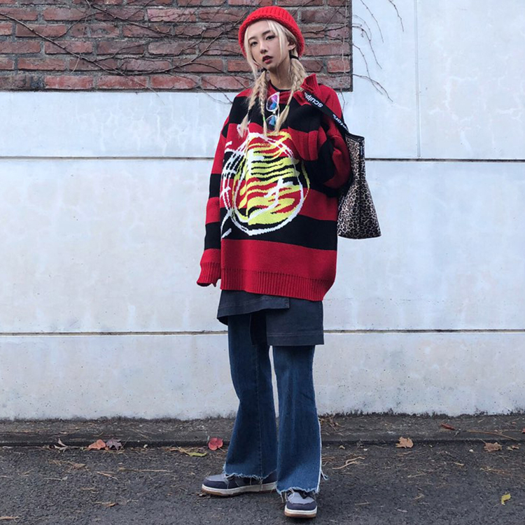 18FW 17 smile stripe overfit knit (red stripe)